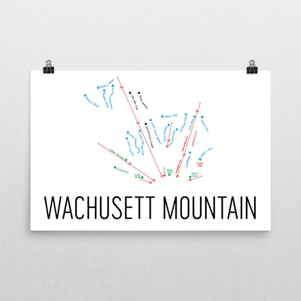 Wachusett Ski Trail Map Poster 12x18