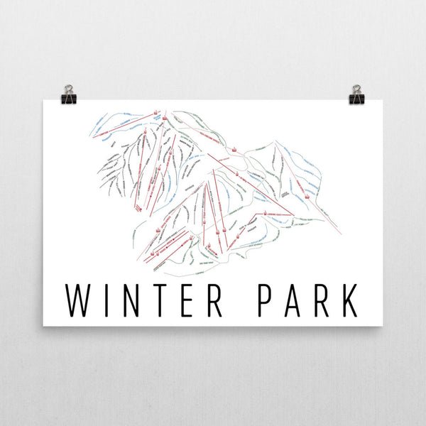 Winter Park Ski Trail Map Poster 12x18