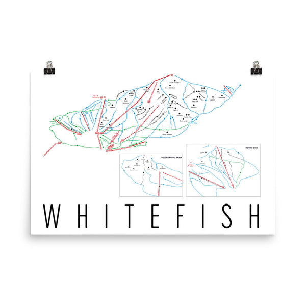 Whitefish Ski Trail Map Poster 12x18