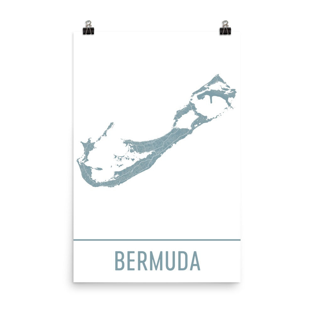 Bermuda Street Map Poster Black