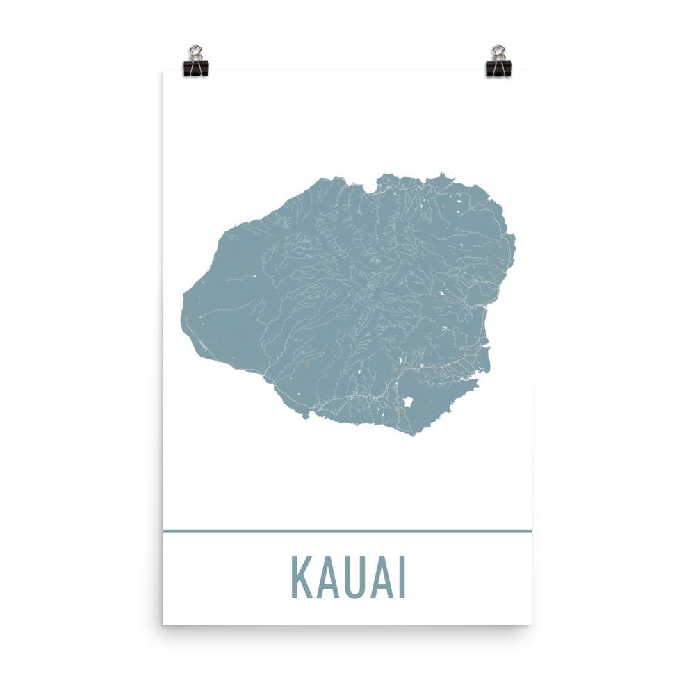 Kauai Street Map Poster Black