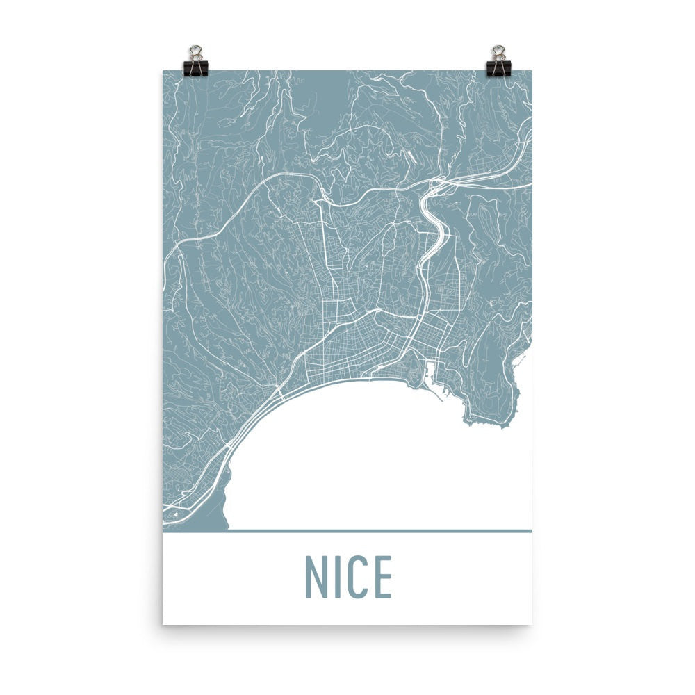 Nice France Street Map Poster White