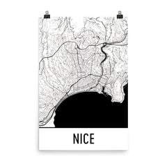 Nice France Street Map Poster Blue