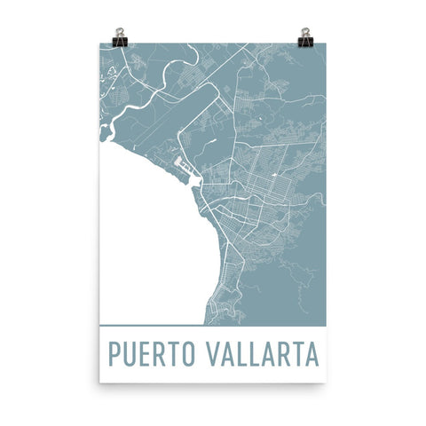 Puerto Vallarta Street Map Poster Wall Print by Modern Map Art