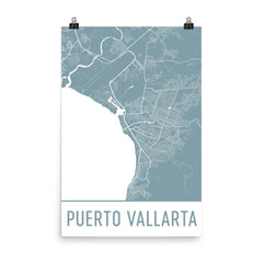 Puerto Vallarta Street Map Poster Black
