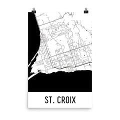 St. Croix Street Map Poster White