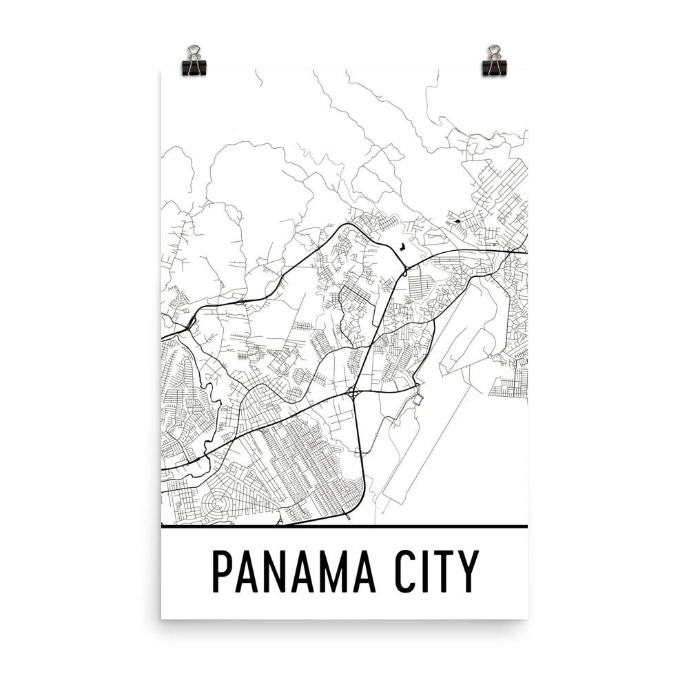 Panama City Street Map Poster White
