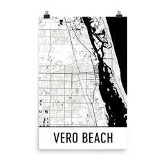 Vero Beach FL Street Map Poster Blue