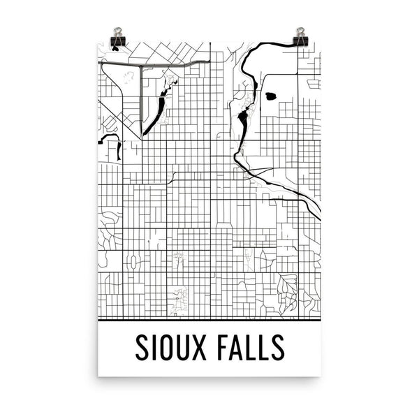 Sioux Falls SD Street Map Poster White