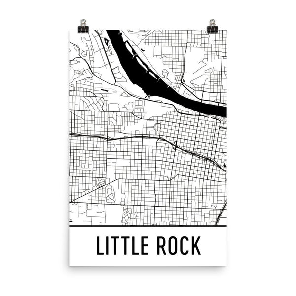 Little Rock AR Street Map Poster White
