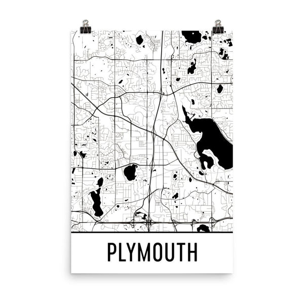 Plymouth Minnesota Street Map Poster White