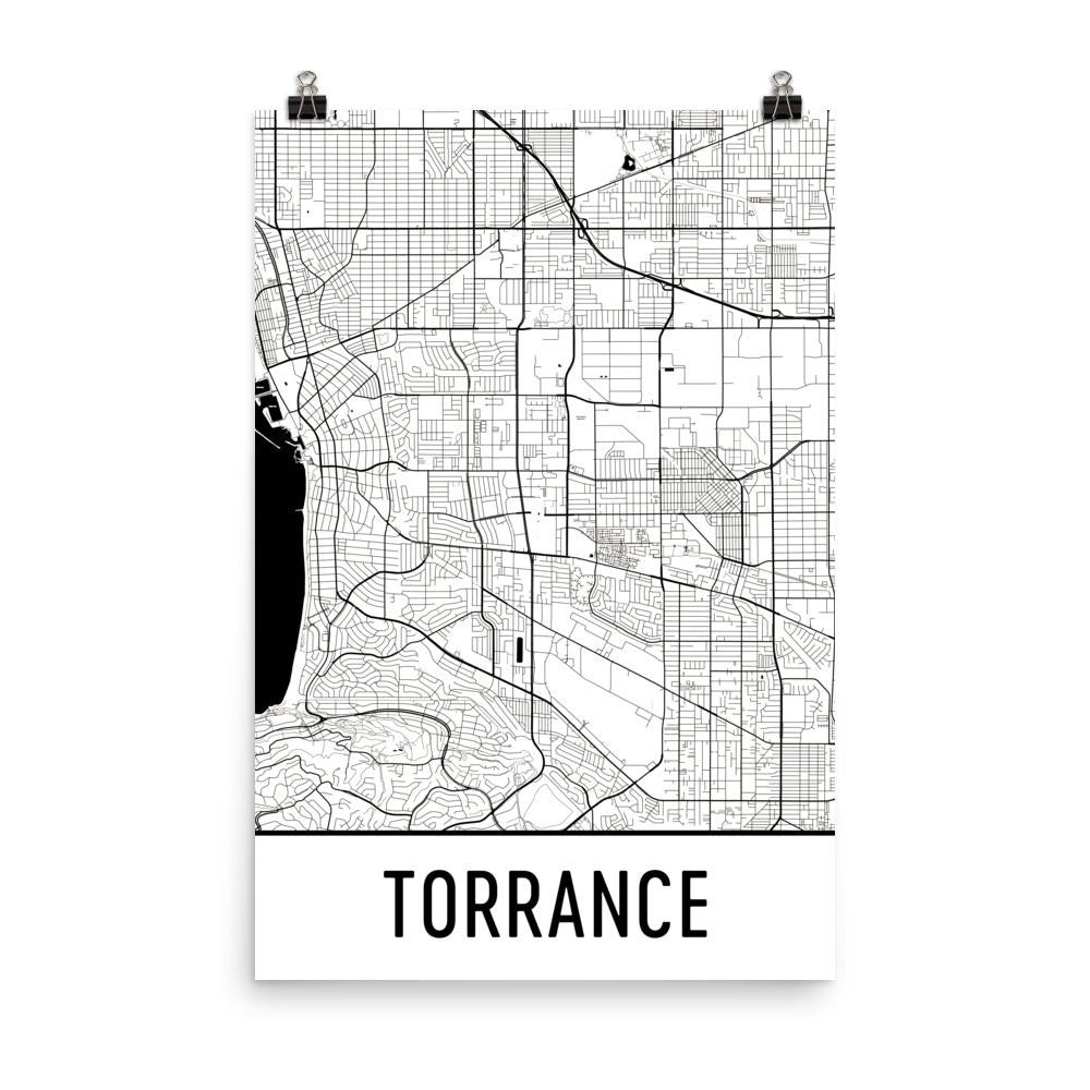 Torrance California Street Map Poster White