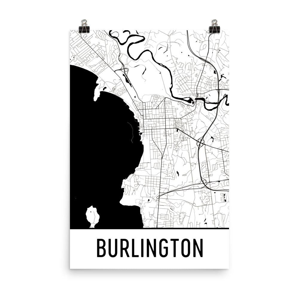 Burlington VT Street Map Poster White
