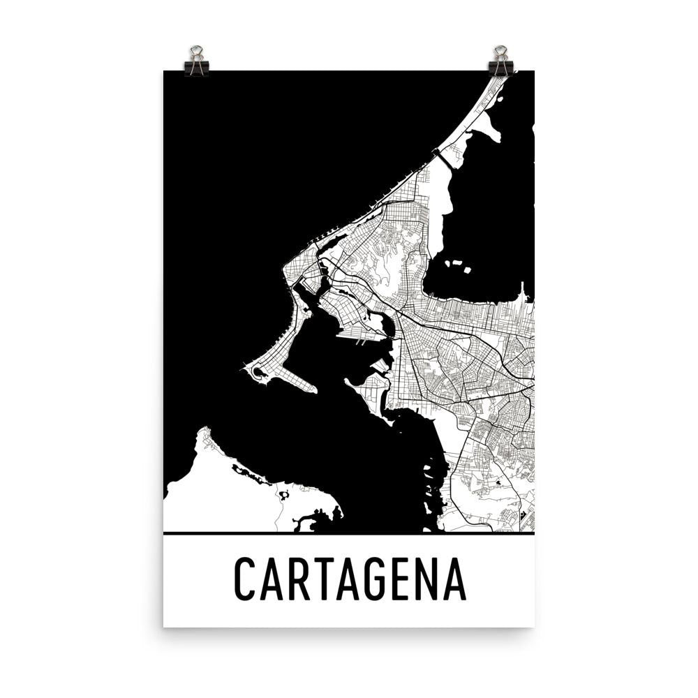 Cartagena Colombia Street Map Poster White