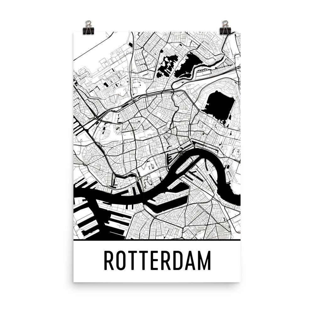 Rotterdam netherlands street map poster wall print by modern map art rotterdam netherlands street map poster white publicscrutiny Images