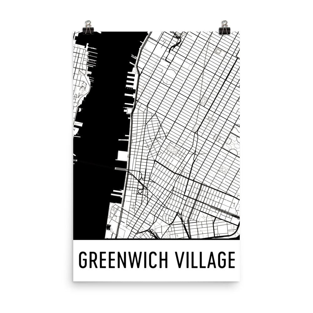 Greenwich Village New York Map, Art, Print, Poster, Wall Art From $19.99 - ModernMapArt