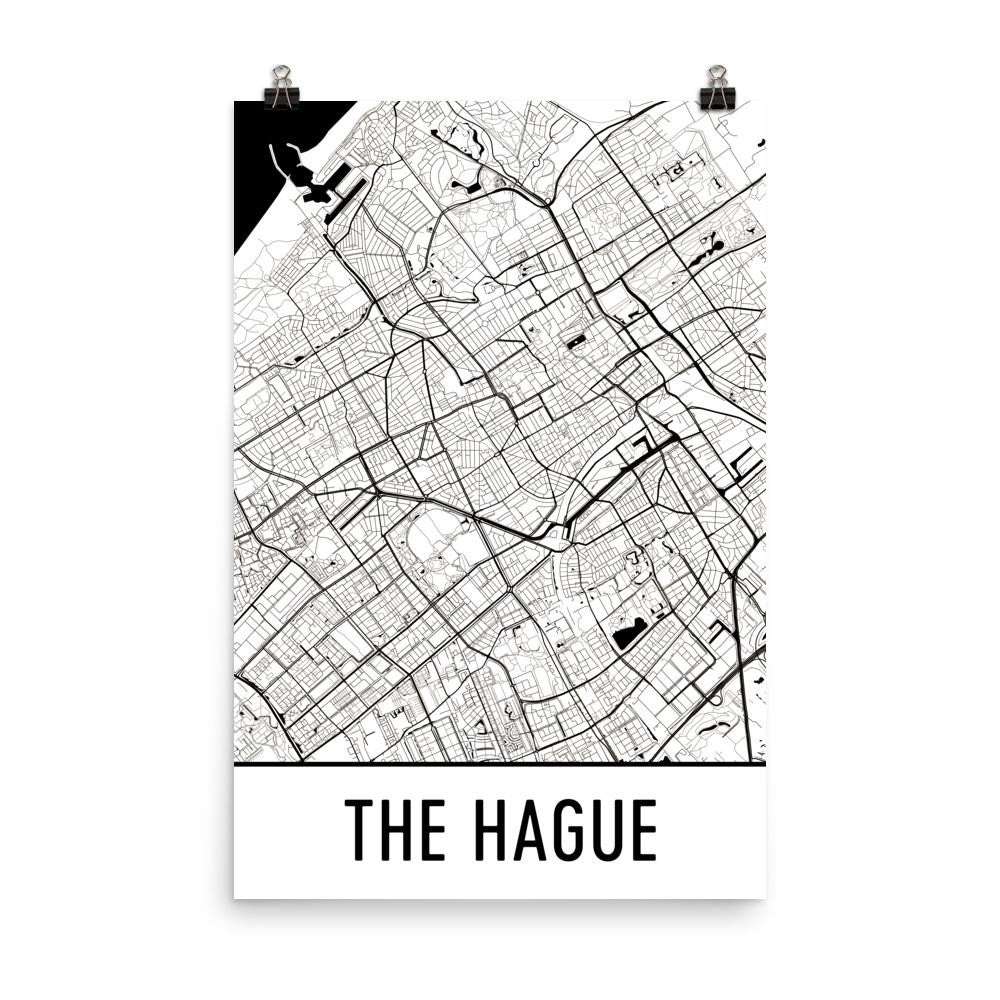 The Hague Netherlands Street Map Poster White