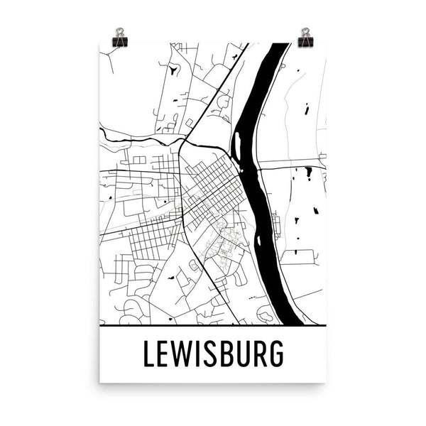 Lewisburg Pennsylvania Street Map Poster White