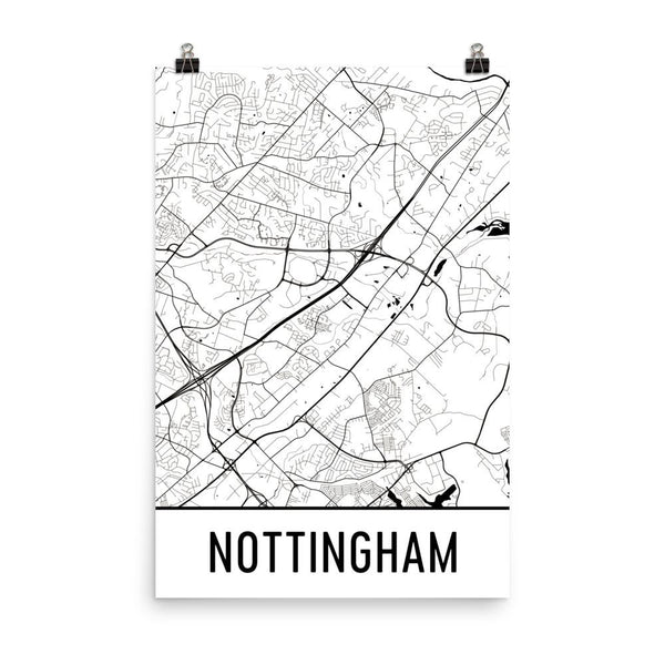 Nottingham UK Street Map Poster White
