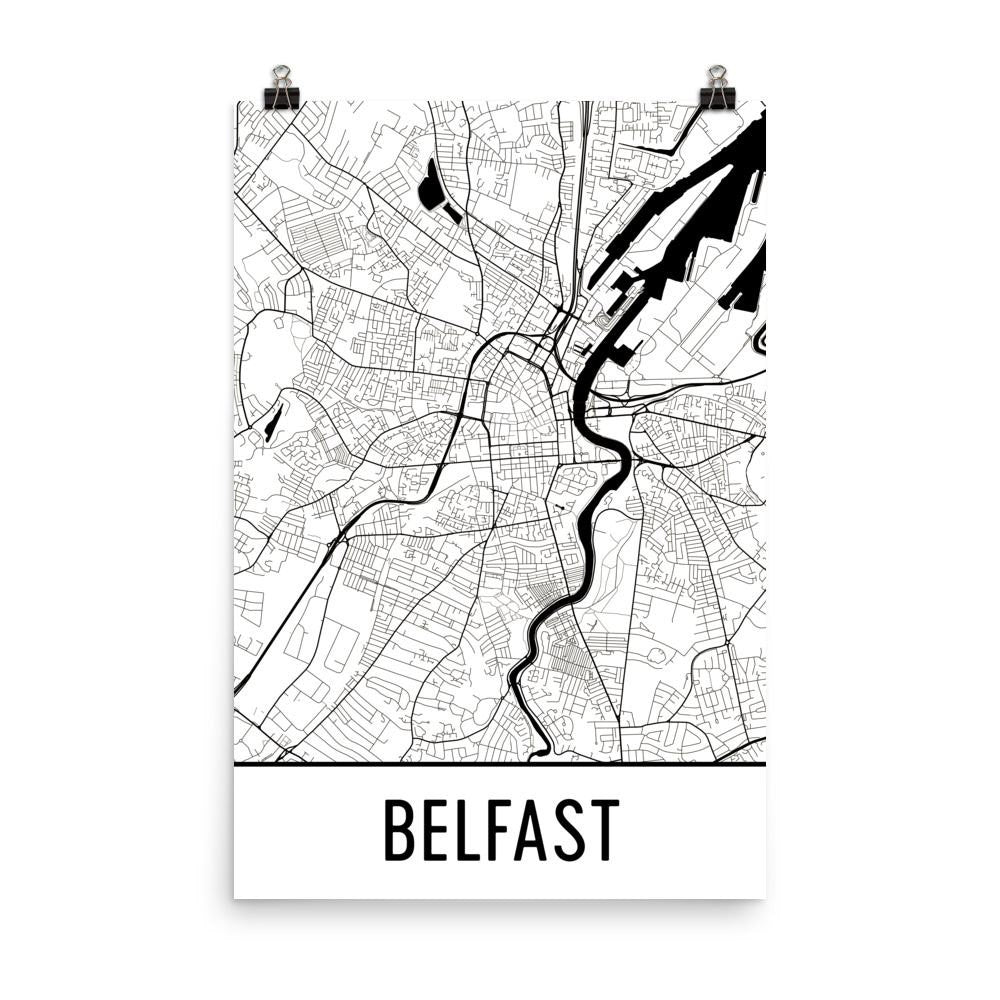 Belfast Northern Street Map Poster White