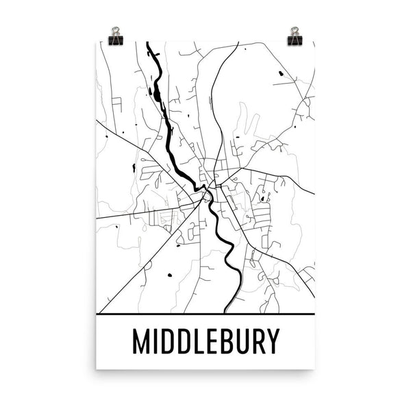Middlebury VT Street Map Poster White