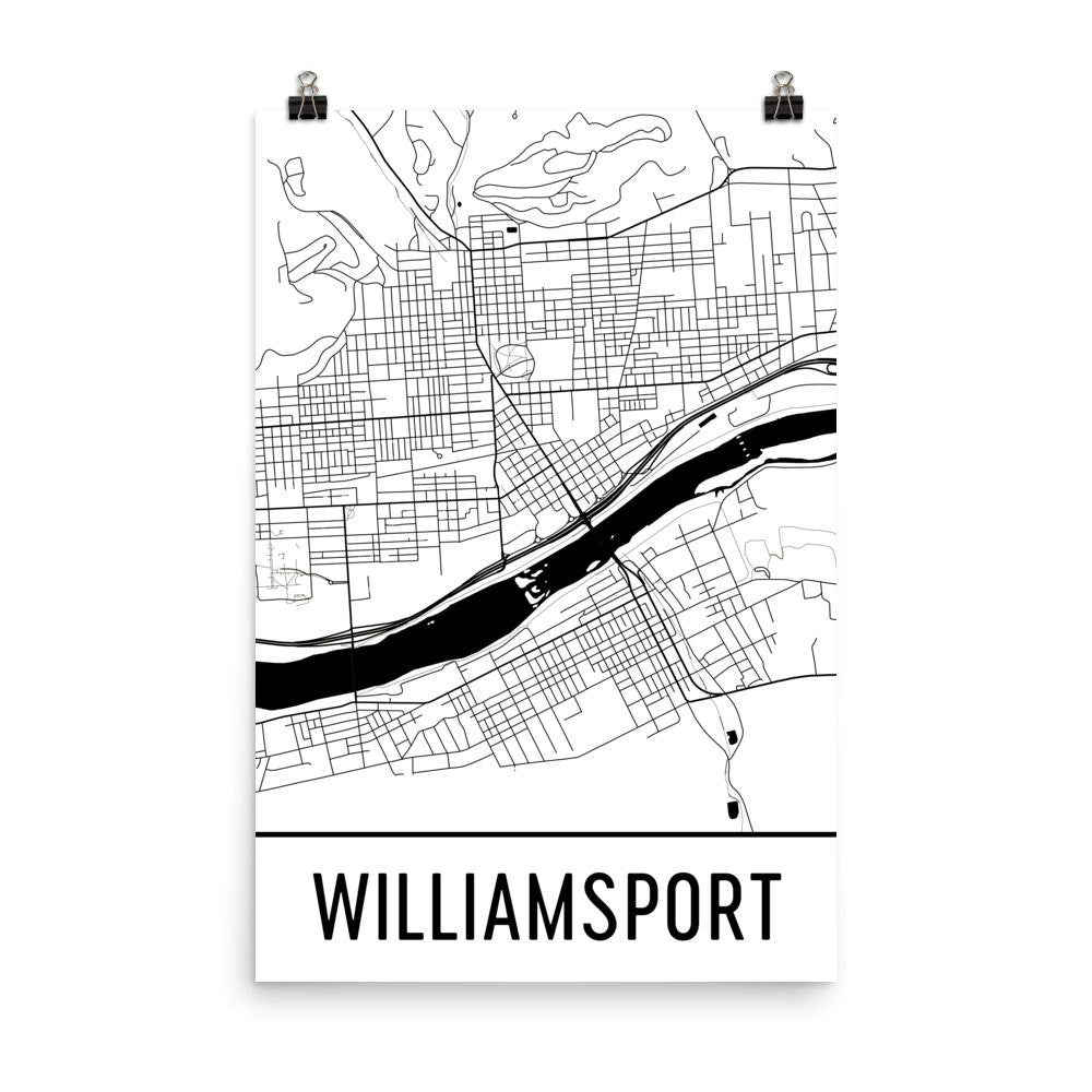 Williamsport PA Street Map Poster White