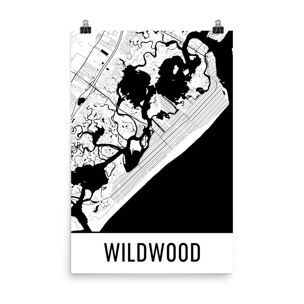 Wildwood NJ Street Map Poster White