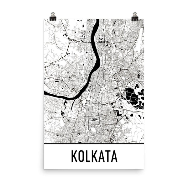 Kolkata India Street Map Poster White