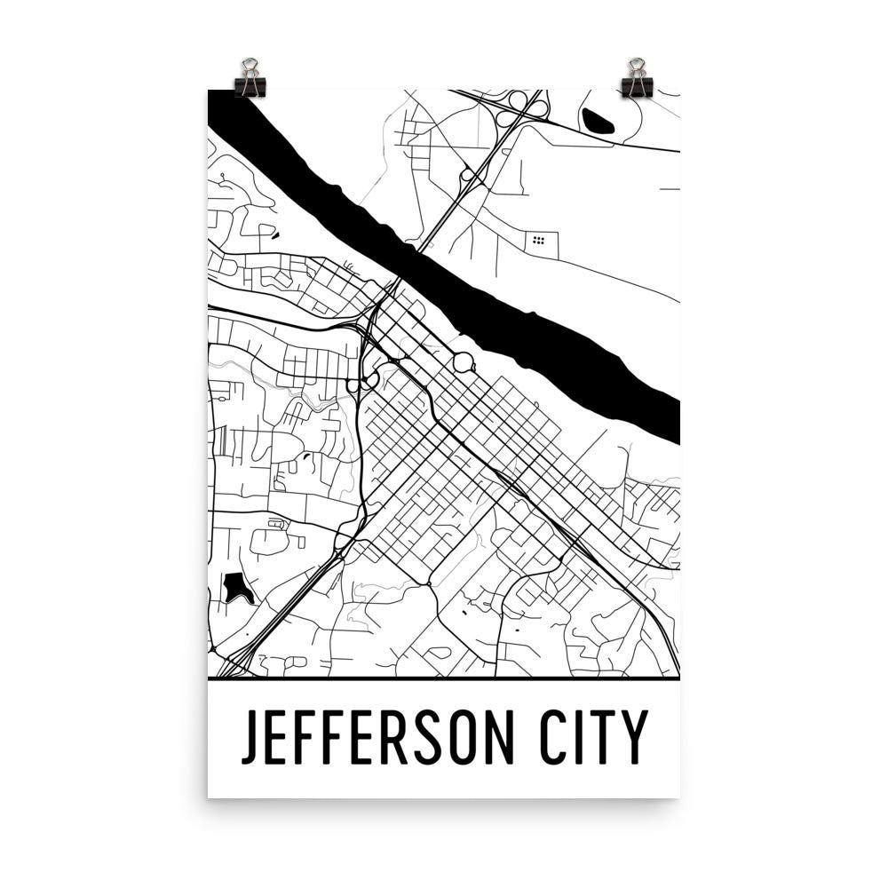 Jefferson City MO Street Map Poster White