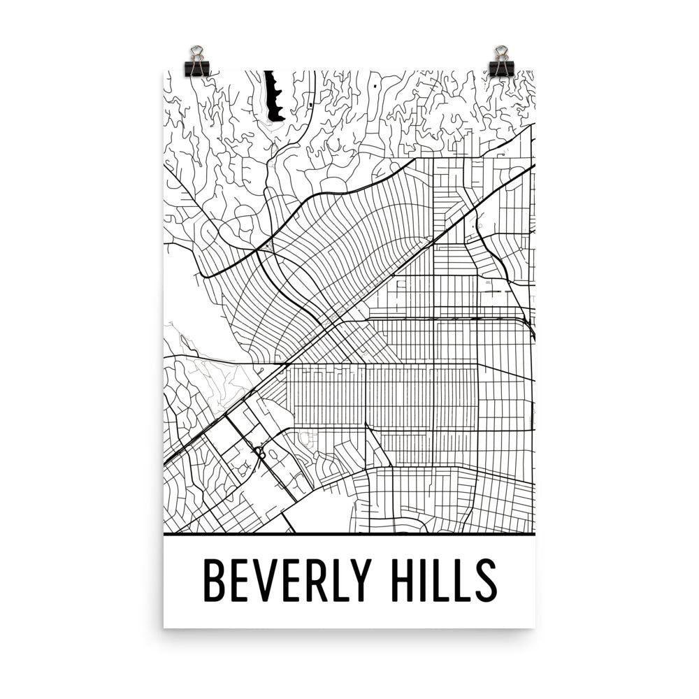 Beverly Hills CA Street Map Poster White