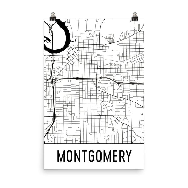 Montgomery AL Street Map Poster White