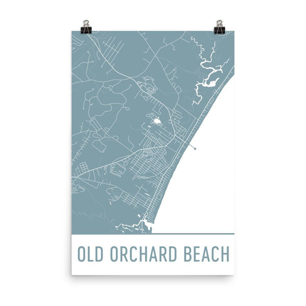 Old Orchard Beach ME Street Map Poster White