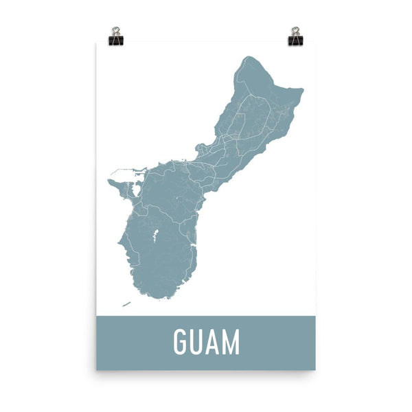 Guam Street Map Poster White