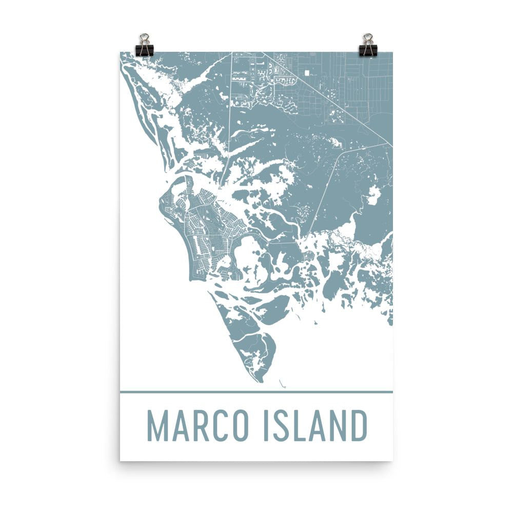 Marco Island Florida Street Map Poster Wall Print By Modern Map Art
