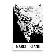 Marco Island Florida Street Map Poster Blue