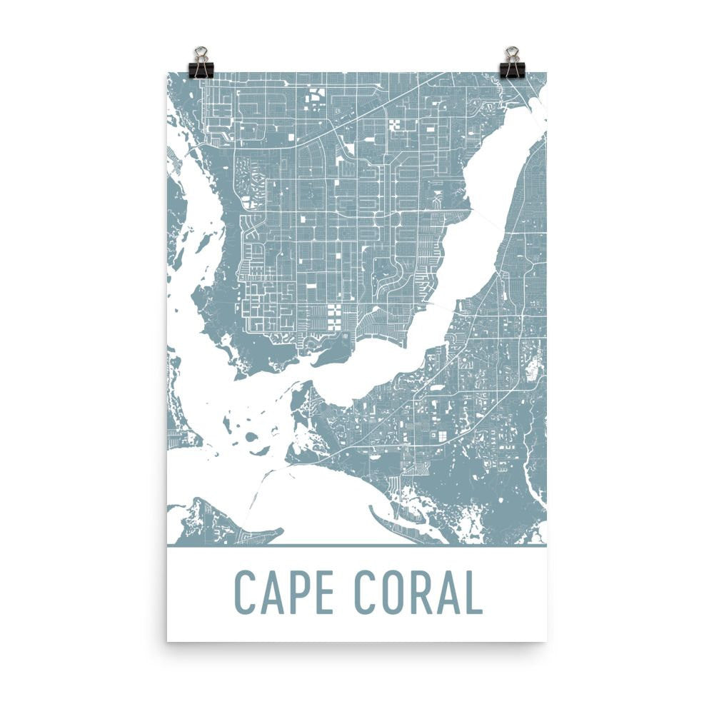 Cape Coral Florida Street Map Poster White