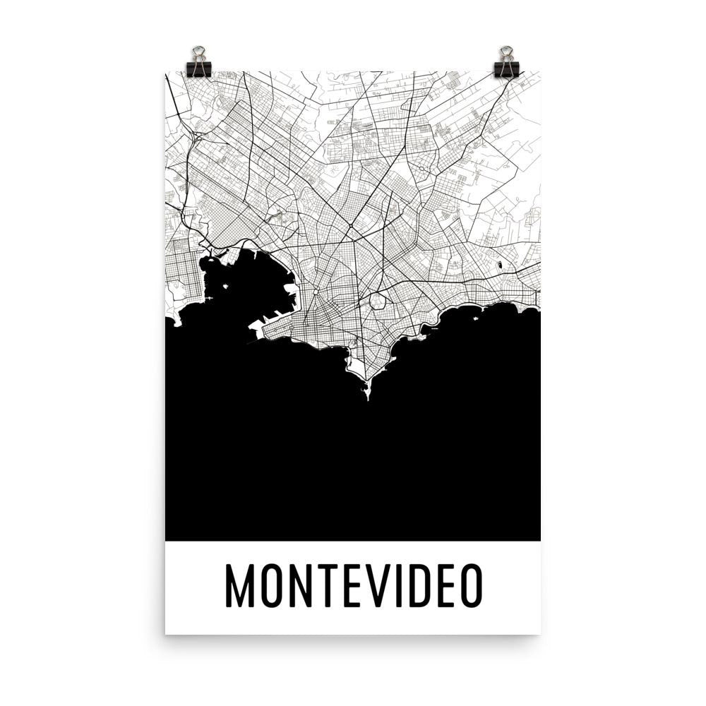 Montevideo uruguay street map poster wall print by modern map art montevideo uruguay street map poster publicscrutiny Gallery