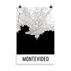 Montevideo Uruguay Street Map Poster Blue