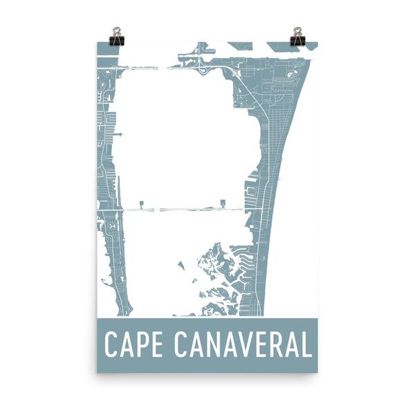 Cape Canaveral Street Map Poster White