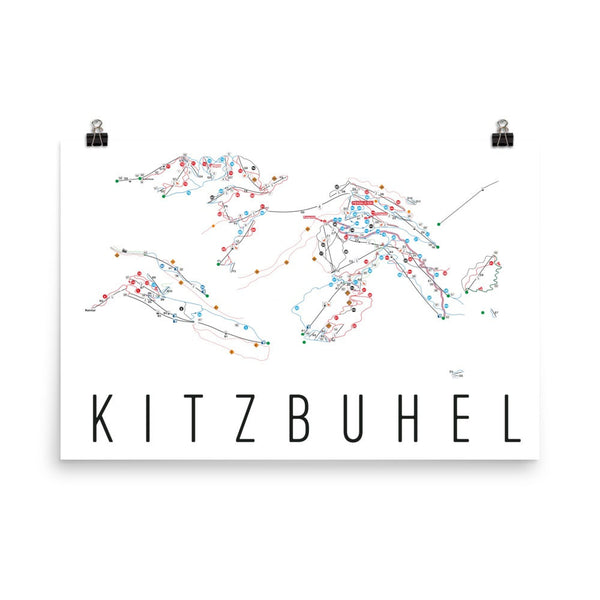 Kitzbuhel Ski Trail Map Poster 12x18