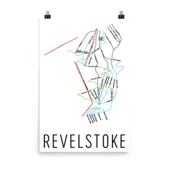 Revelstoke British Columbia Ski Trail Map Poster 12x18