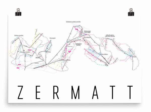 Zermatt Ski Trail Map Poster 12x18