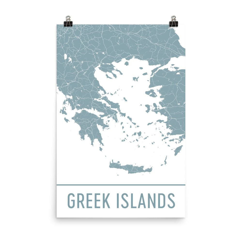 Greek Islands Greece Street Map Poster Black
