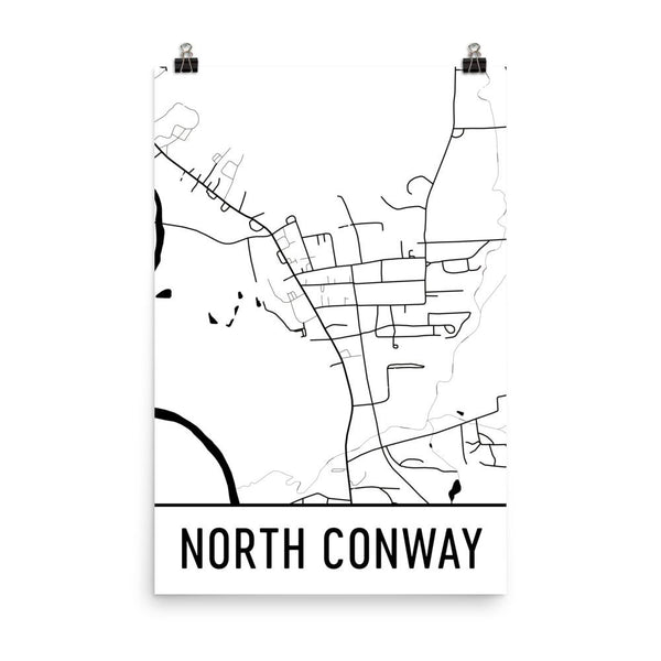 North Conway Street Map Poster White