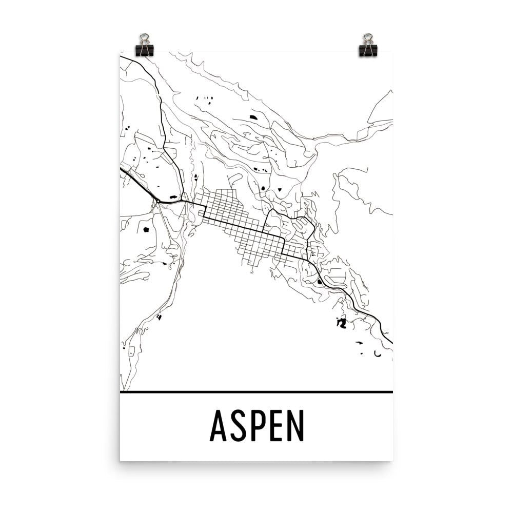 Aspen CO Street Map Poster White