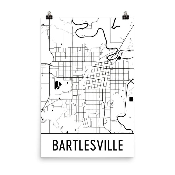 Bartlesville Street Map Poster White