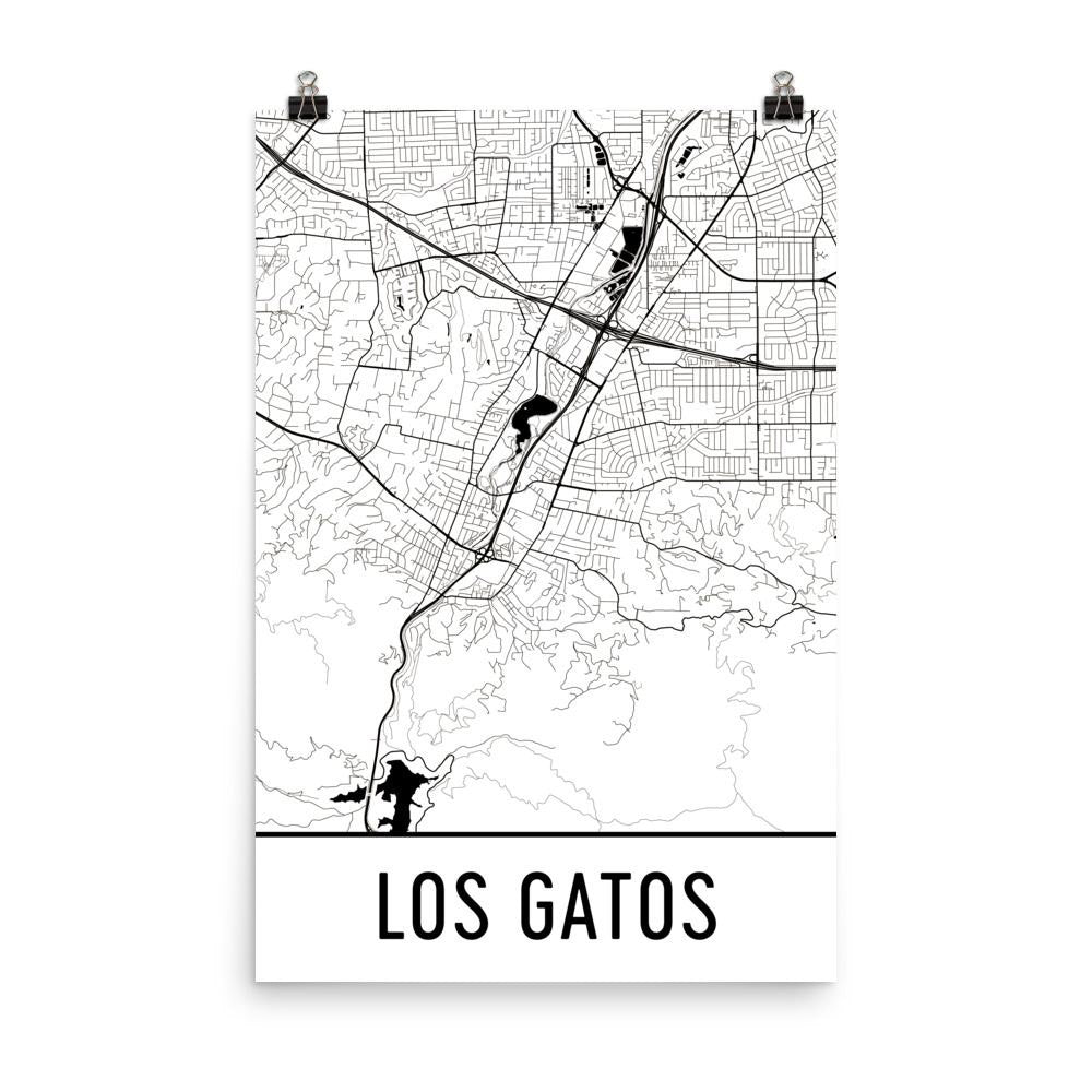 Los Gatos California Street Map Poster Wall Print By Modern Map Art