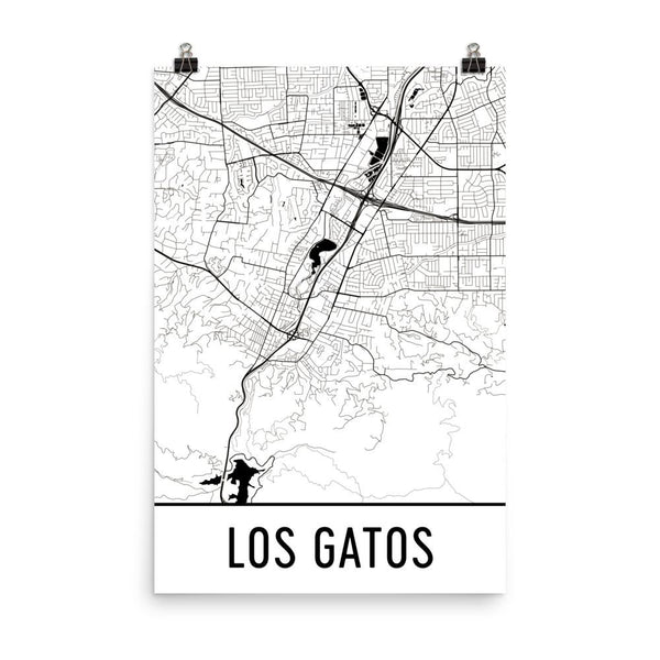 Los Gatos California Street Map Poster White