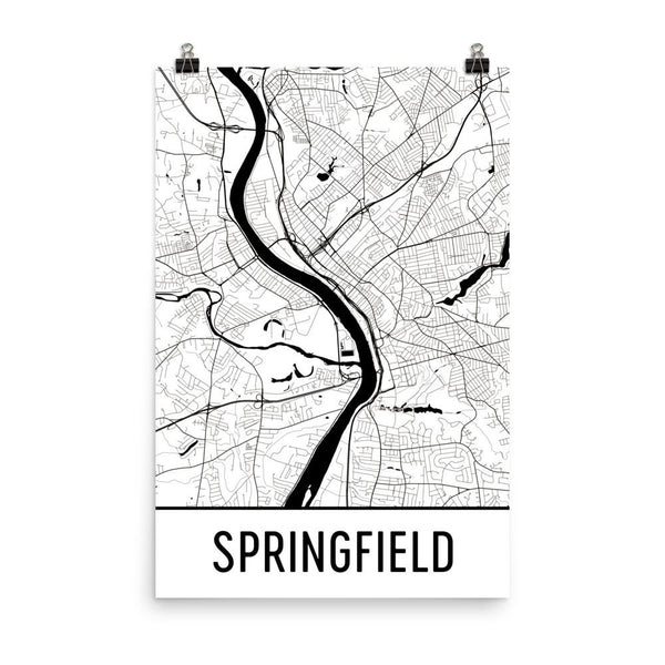 Springfield Massachusetts Street Map Poster White