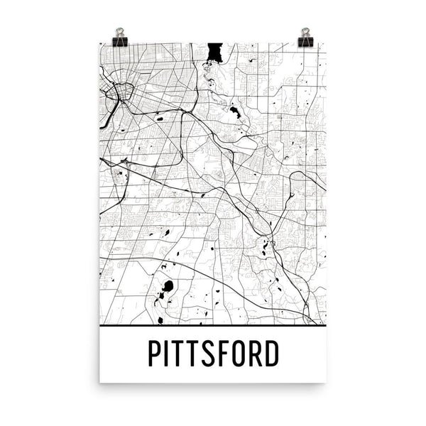 Pittsford NY Street Map Poster White